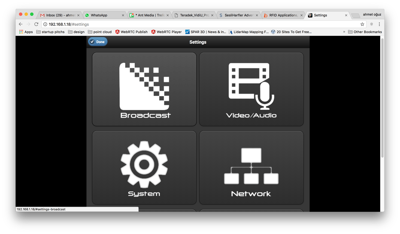 Configure broadcast settings of Teradek Vidiu
